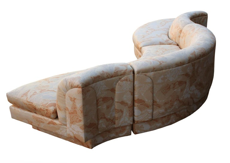 Fabric Mid-Century Modern Curved and Sculptural Serpentine Sectional Sofa Plinth Base For Sale