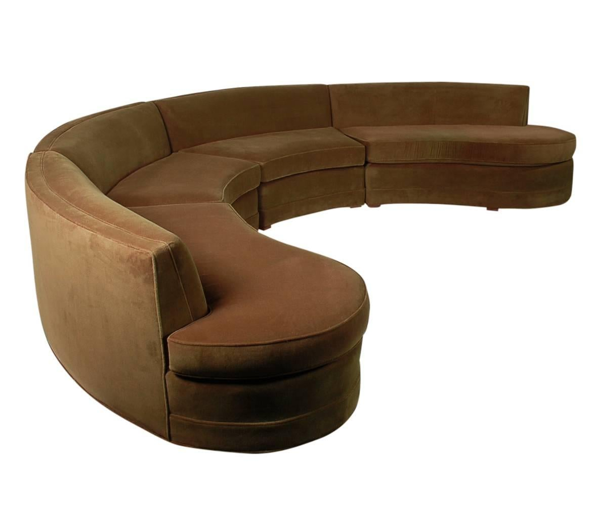 Mid Century Modern Curved Circular Pit Sectional Sofa After Milo Baughman
