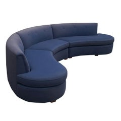 Mid-Century Modern Curved Circular Serpentine Sectional Sofa