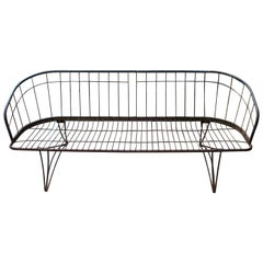 Mid-Century Modern Curved Iron Patio Bench Settee Woodard Era, 1960s