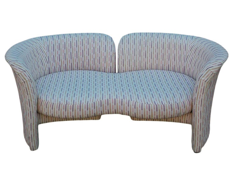 Fabric Mid-Century Modern Curved Loveseat Sofa or Chaise Lounge by Randy Culler  For Sale