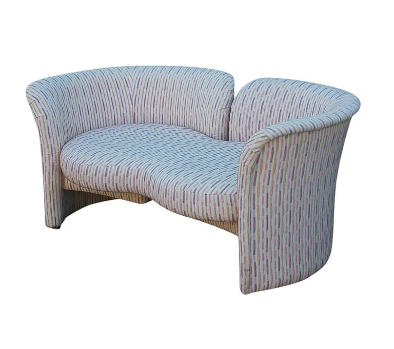 Mid-Century Modern Curved Loveseat Sofa or Chaise Lounge by Randy Culler  For Sale 3