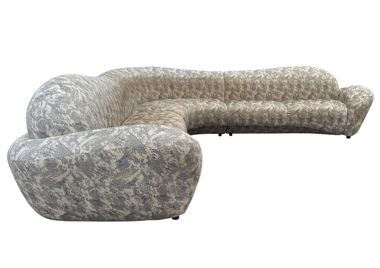 Late 20th Century Mid-Century Modern Curved and Sculptural Sectional Serpentine Sofa by Weiman For Sale