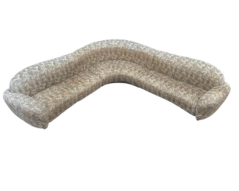 Fabric Mid-Century Modern Curved and Sculptural Sectional Serpentine Sofa by Weiman For Sale