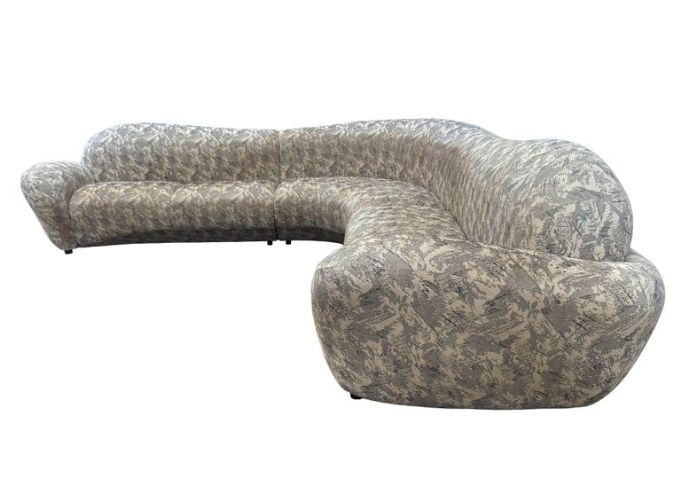 Mid-Century Modern Curved and Sculptural Sectional Serpentine Sofa by Weiman For Sale 2