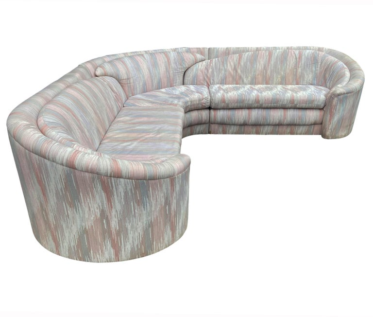 Mid-Century Modern Curved Sectional L Shaped Sofa For Sale 1