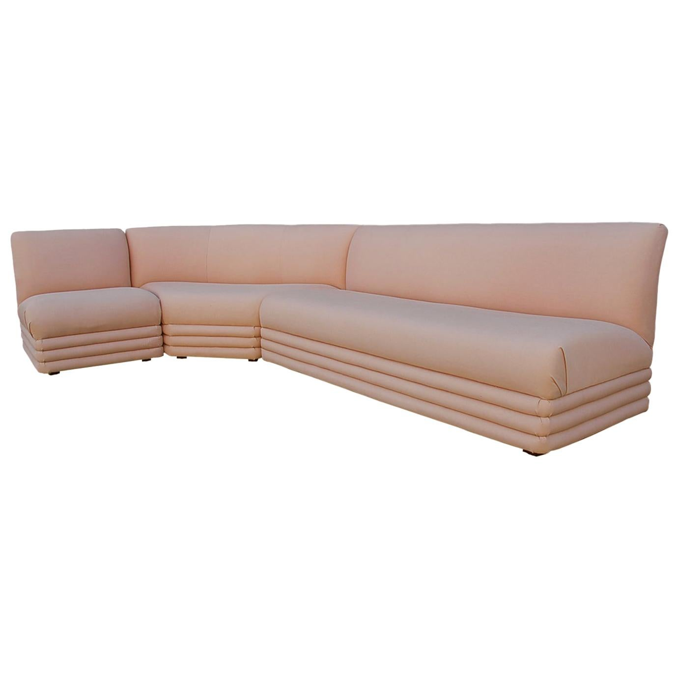 Mid-Century Modern Curved Sectional Sofa in Pink