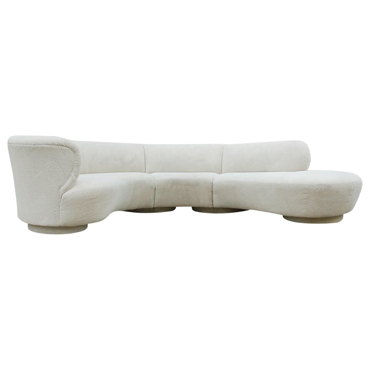 Mid-Century Modern Curved Serpentine Cloud Sectional Sofa