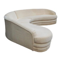 Mid-Century Modern Curved Serpentine Sectional Sofa in Off-White Velour