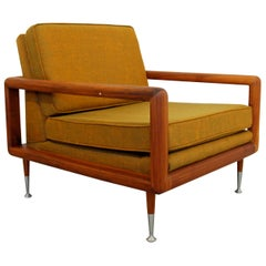 Mid-Century Modern Curved Wood Lounge Accent Armchair Robsjohn Gibbings Era 60s