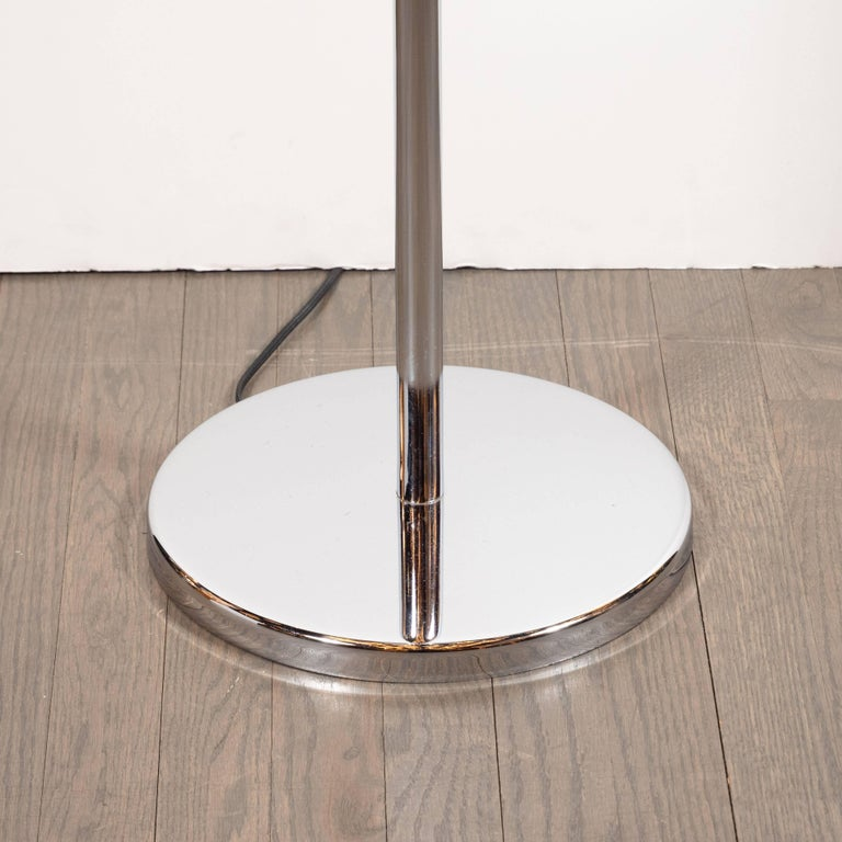 American Mid-Century Modern Curvilinear and Sculptural Tulip Lamp in Lustrous Chrome For Sale