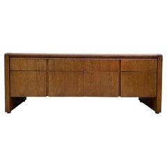Mid Century Modern Custom American Waterfall Oak Credenza Cabinet 8 Drawer