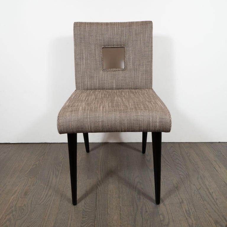 American Mid-Century Modern Cutout Desk/Side Chair in Ebonized Walnut & Holly Hunt Fabric For Sale
