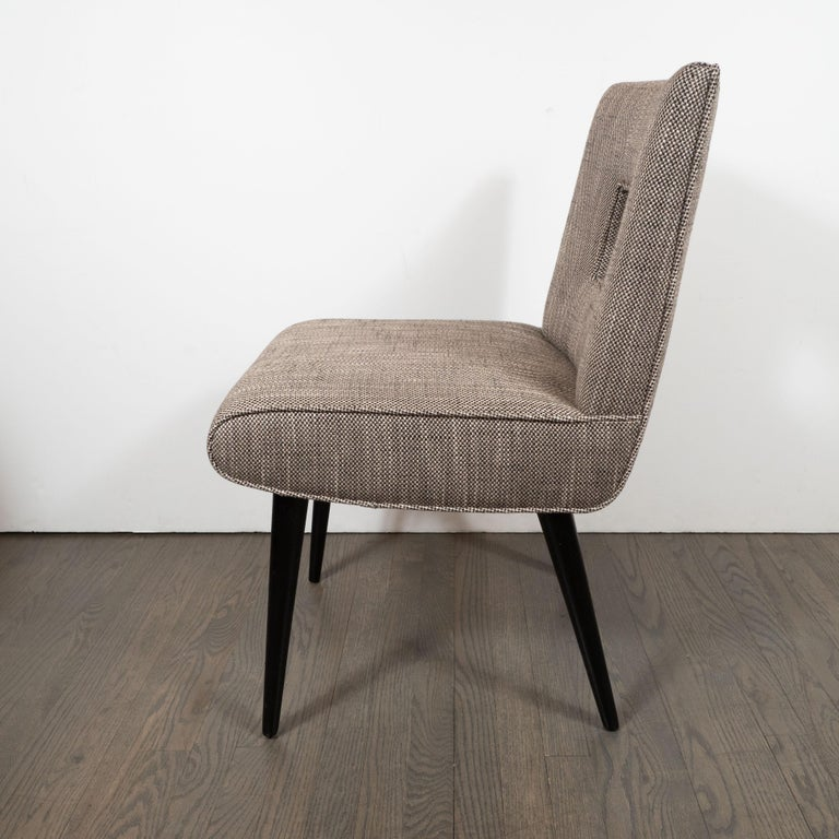 Mid-20th Century Mid-Century Modern Cutout Desk/Side Chair in Ebonized Walnut & Holly Hunt Fabric For Sale