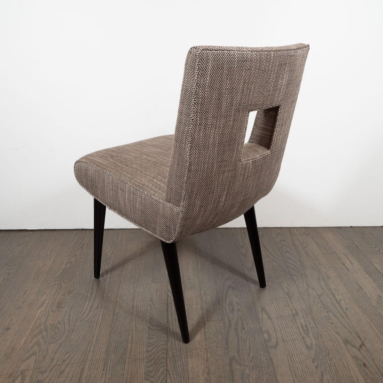 Mid-Century Modern Cutout Desk/Side Chair in Ebonized Walnut & Holly Hunt Fabric For Sale 1