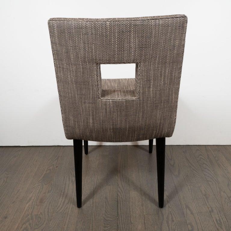 Mid-Century Modern Cutout Desk/Side Chair in Ebonized Walnut & Holly Hunt Fabric For Sale 2