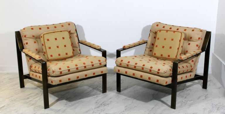 American Mid-Century Modern Cy Mann Pair of Bronze Lounge Armchairs 1970s Baughman Style For Sale