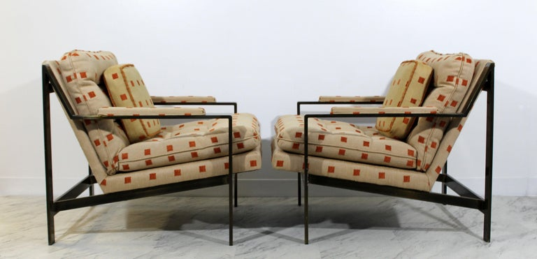 Mid-Century Modern Cy Mann Pair of Bronze Lounge Armchairs 1970s Baughman Style In Good Condition For Sale In Keego Harbor, MI