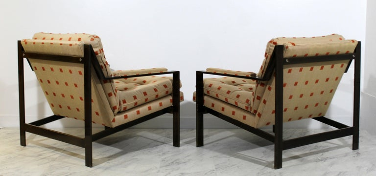 Late 20th Century Mid-Century Modern Cy Mann Pair of Bronze Lounge Armchairs 1970s Baughman Style For Sale