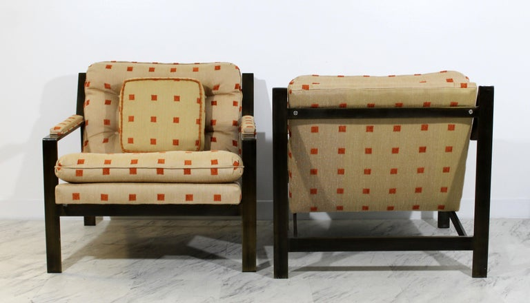 Mid-Century Modern Cy Mann Pair of Bronze Lounge Armchairs 1970s Baughman Style For Sale 1