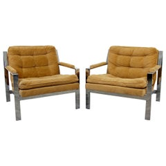 Mid-Century Modern Cy Mann Pair of Chrome Flat Bar Lounge Chairs Baughman Style