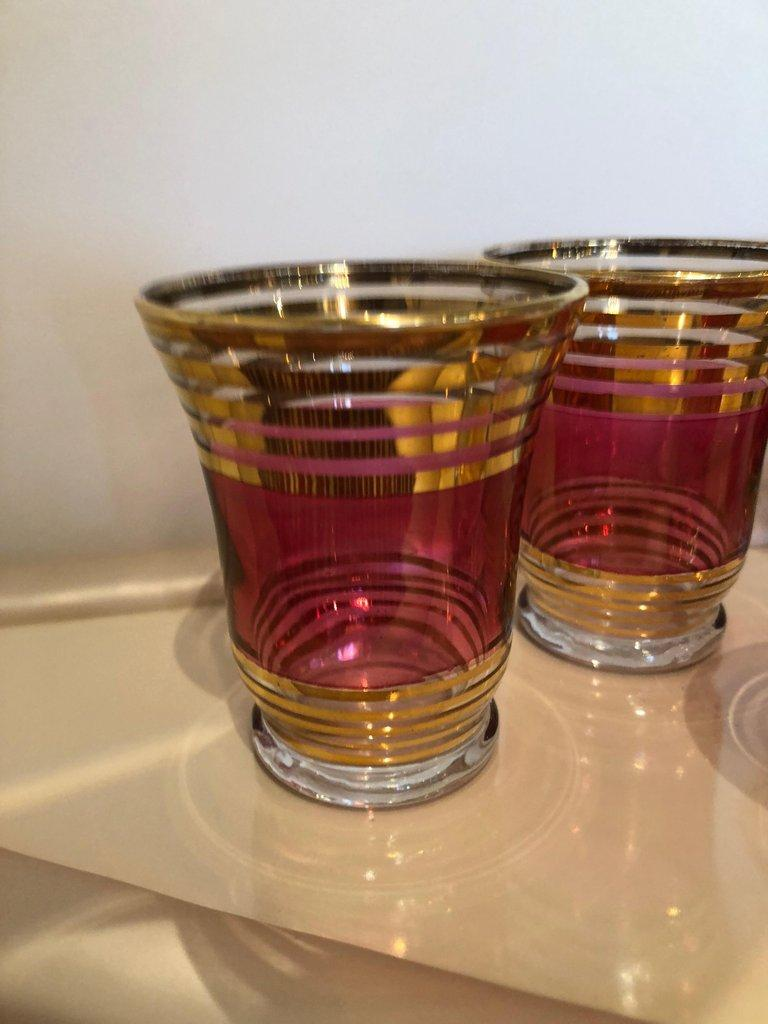 Mid-Century Modern Czech 4 Cranberry Flashed Gilt Goblets & 6 Small Shot Glasses For Sale 6