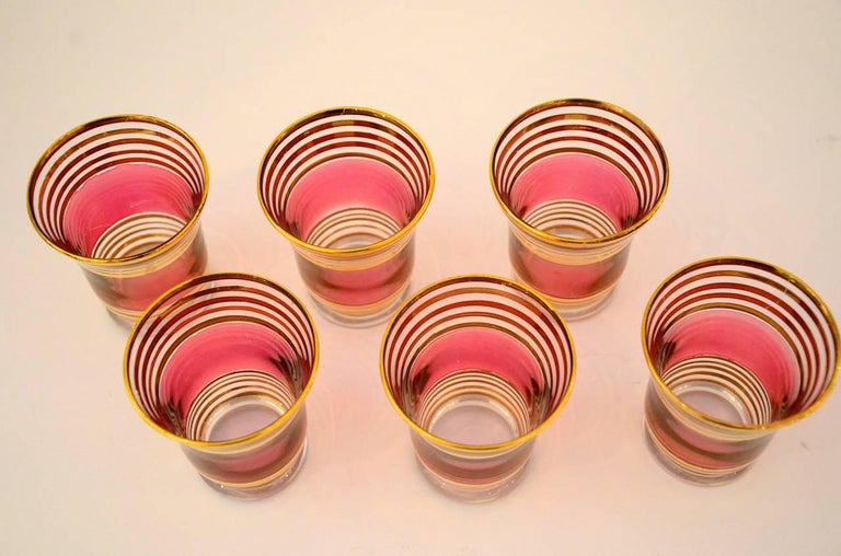 Mid-Century Modern Czech 4 Cranberry Flashed Gilt Goblets & 6 Small Shot Glasses For Sale 10