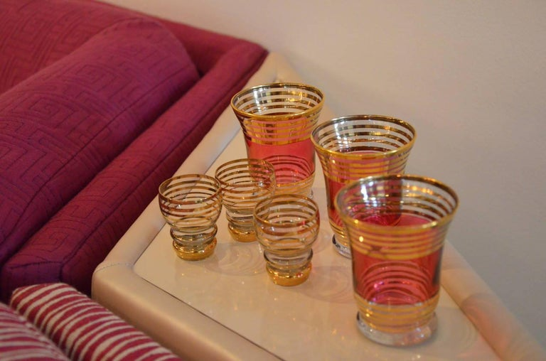 Mid-Century Modern Czech 4 Cranberry Flashed Gilt Goblets & 6 Small Shot Glasses For Sale 11