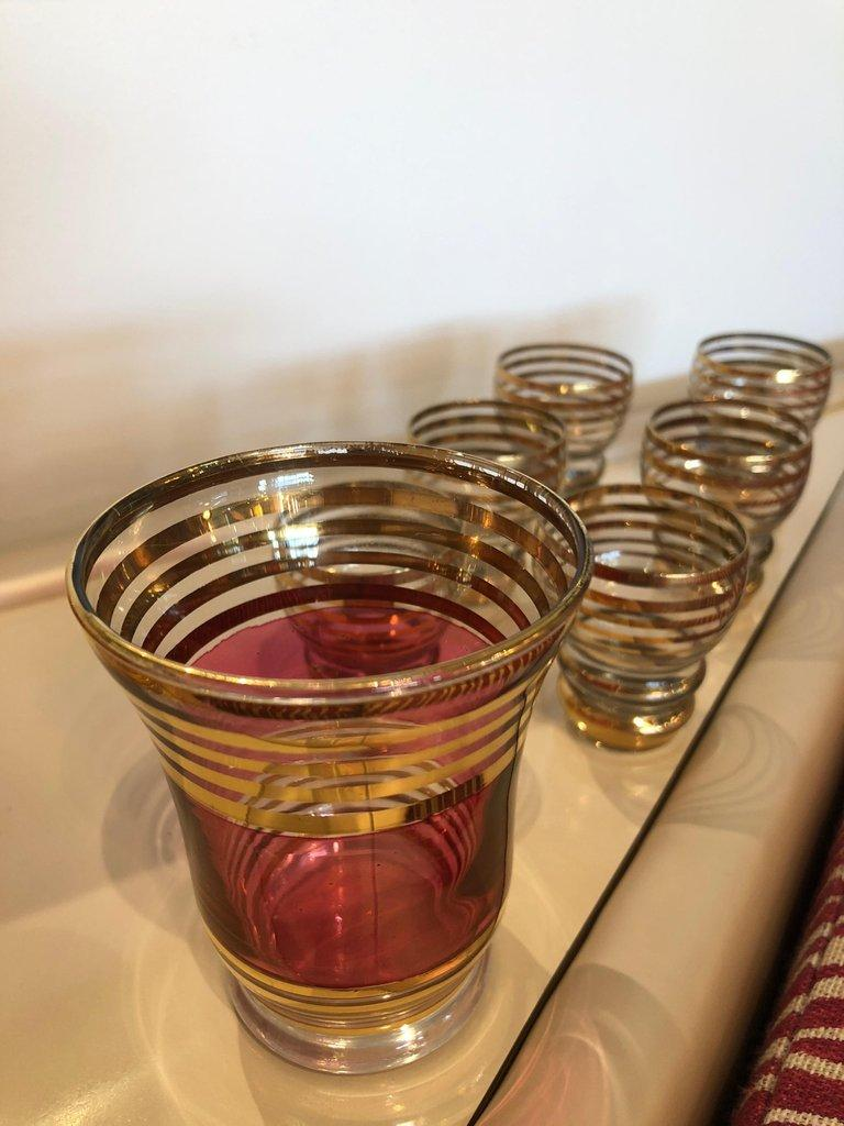 Crystal Mid-Century Modern Czech 4 Cranberry Flashed Gilt Goblets & 6 Small Shot Glasses For Sale
