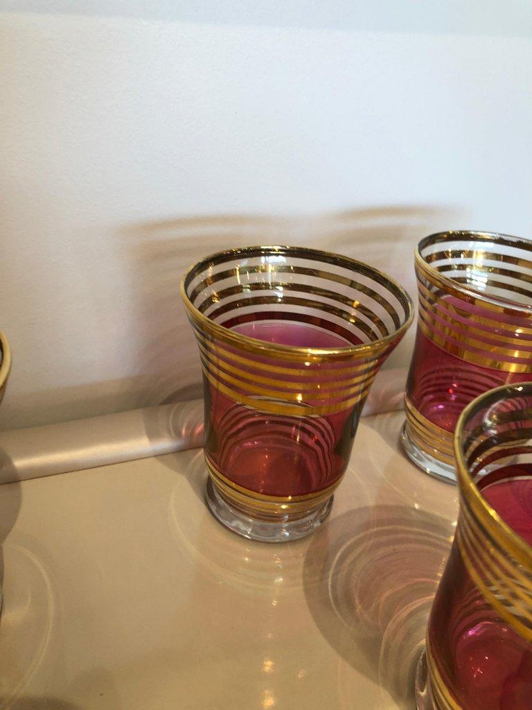 Mid-Century Modern Czech 4 Cranberry Flashed Gilt Goblets & 6 Small Shot Glasses For Sale 4
