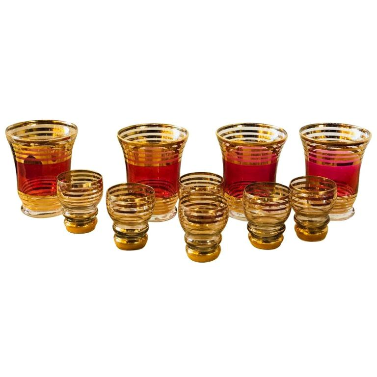 Mid-Century Modern Czech 4 Cranberry Flashed Gilt Goblets & 6 Small Shot Glasses For Sale