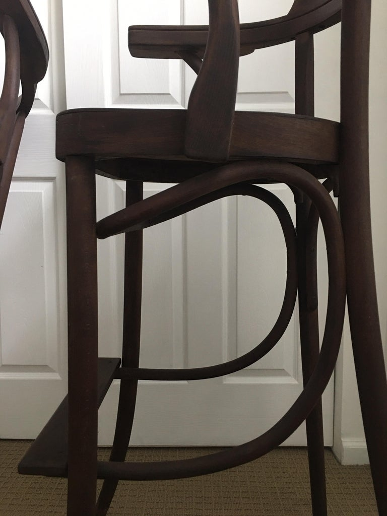 Mid-Century Modern Czech Bar Stools Sculptural Bentwood Thonet Style, Pair For Sale 5