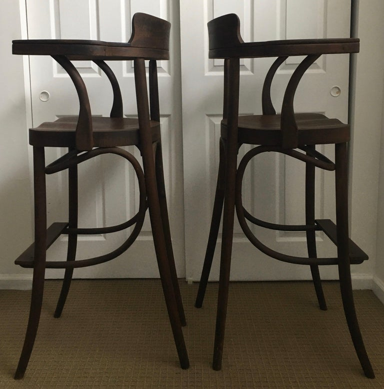 Mid-20th Century Mid-Century Modern Czech Bar Stools Sculptural Bentwood Thonet Style, Pair For Sale