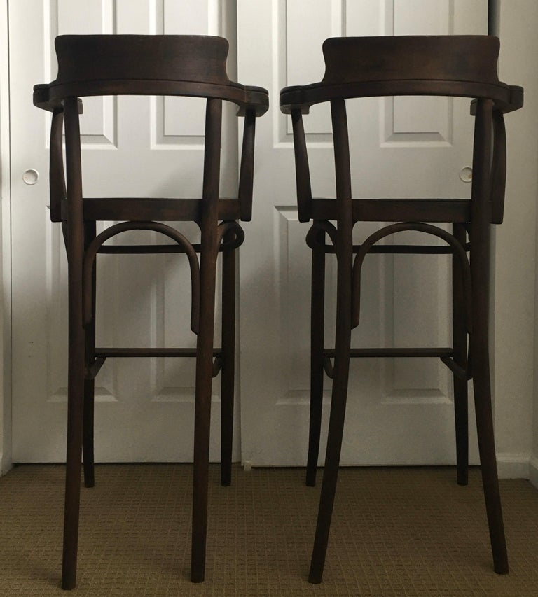 Wood Mid-Century Modern Czech Bar Stools Sculptural Bentwood Thonet Style, Pair For Sale