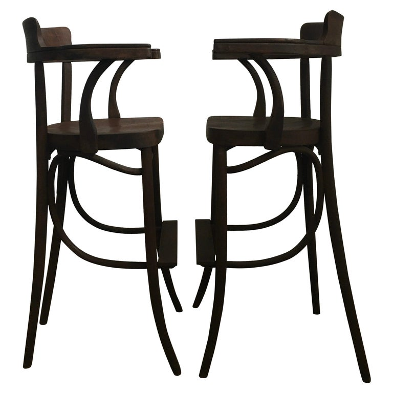 Mid-Century Modern Czech Bar Stools Sculptural Bentwood Thonet Style, Pair For Sale