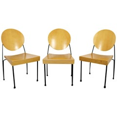 Mid-Century Modern Dakota Jackson Set of 3 Wood and Metal Memphis Chairs