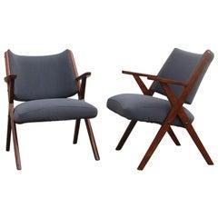 Mid-Century Modern Dal Vera Wood Armchairs, 1950, Italian Design Gray Fabric