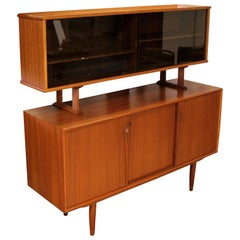 Mid-Century Modern Danish 2-Tier Teak Credenza Floating Hutch Kurt Ostervig Era