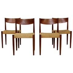 Mid-Century Modern Danish 4 Teak Cord Rope Dining Chairs Sigh & Sons Vodder Era