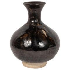 Mid-Century Modern Danish Black Glazed & Natural Ceramic Hourglass Form Vase