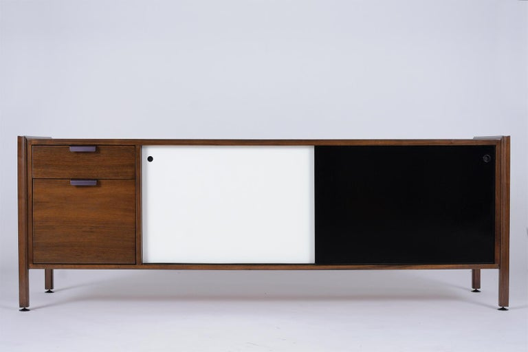 Mid-Century Modern Mid Century Modern Walnut Lacquered Credenza For Sale