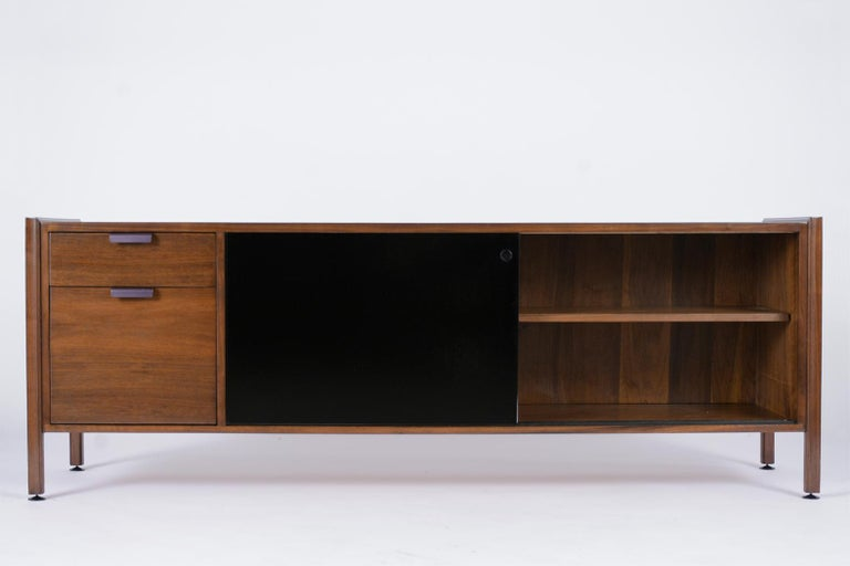 Danish Mid Century Modern Walnut Lacquered Credenza For Sale