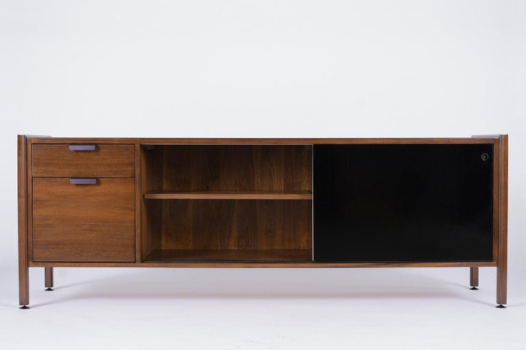 Hand-Carved Mid Century Modern Walnut Lacquered Credenza For Sale