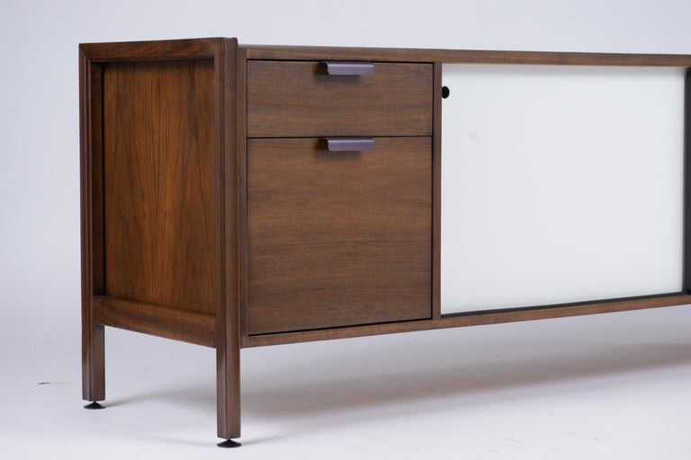 Brass Mid Century Modern Walnut Lacquered Credenza For Sale