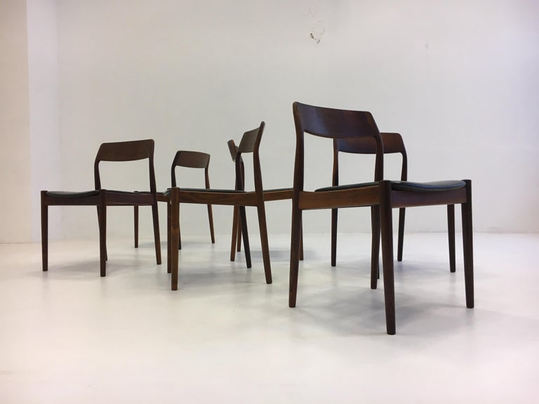 Johannes Nørgaard Mid-Century Modern Danish Dining Chairs, Denmark 1950s For Sale 1