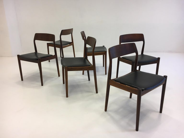 Johannes Nørgaard Mid-Century Modern Danish Dining Chairs, Denmark 1950s For Sale 2