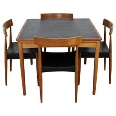 Mid-Century Modern Danish Leather Top Expandable Dinette Dining Table 4 Chairs