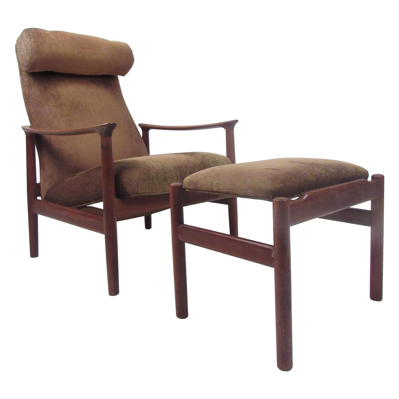 Mid-Century Modern Danish Lounge Chair and Ottoman