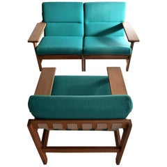 Mid Century Modern Green Danish Lounge Set