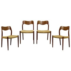 Mid-Century Modern Danish Neils Moller Set of 4 Cord Rope Side Dining Chairs